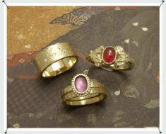 Ringen voor familie van eigen goud, alle 3 een eigen versie