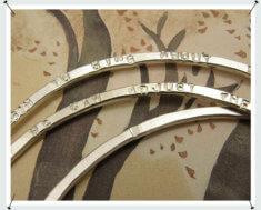 Rinkelbanden zilver met tekst